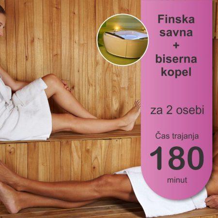 Finska savna in biserna kopel - 2 osebi - 180 minut