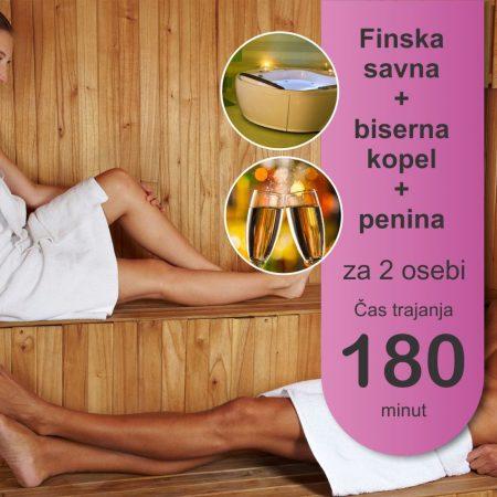 Finska savna in biserna kopel - 2 osebi - 180 minut - penina