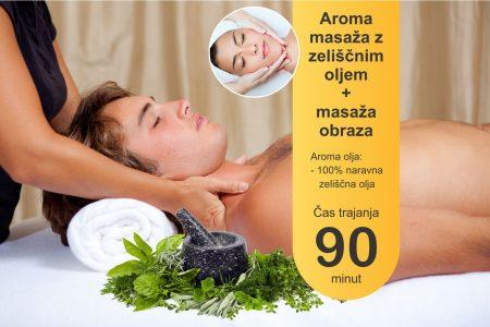 Aroma masaža z zeliščnimi olji z masažo obraza - 90 minut